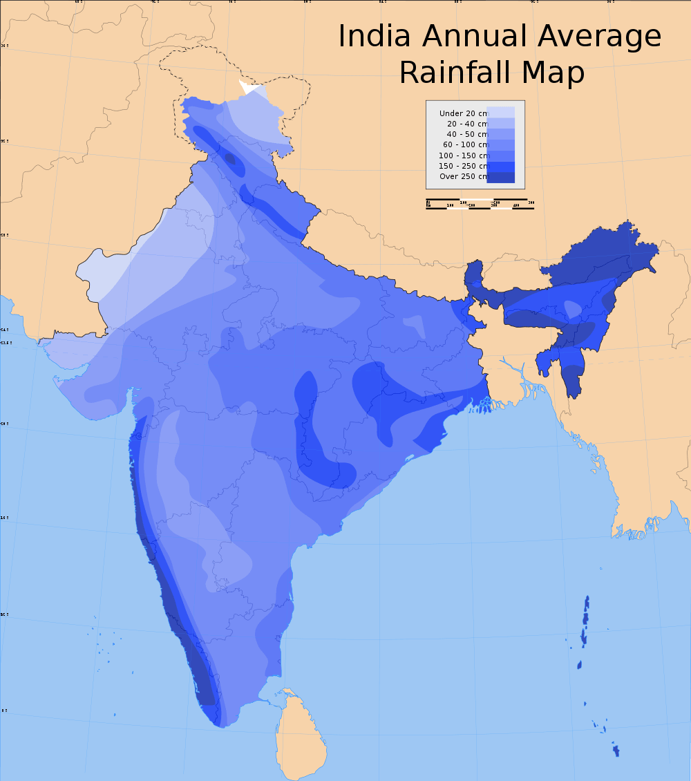14 important maps of india physical and political map best of india annual rainfall map of india gumiabroncs Choice Image
