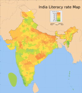 Literacy Rate Map of India