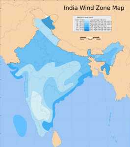Wind Zone Map of India