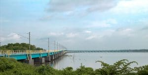 Heavily constructed Vembanad Rail Bridge