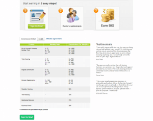 Affiliate page of BigRock