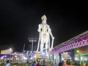 Night view of Damajodi Hanuman Statue