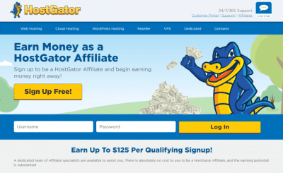 affiliate page of hostgator