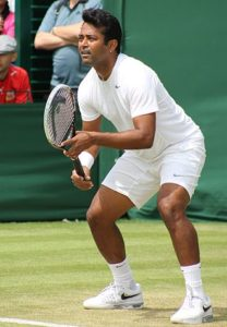 Leander Paes playing a doubles match