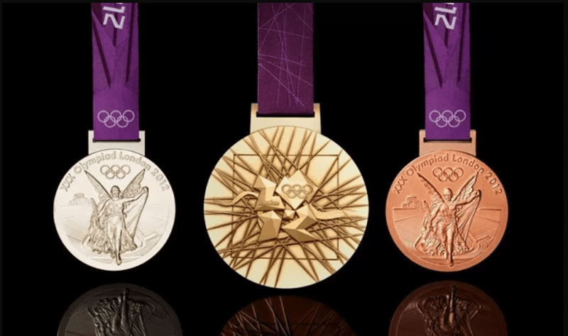 Three medals that are presented to olympic event winners