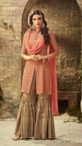 Sharara is a replacement of the traditional ghagra and is basically a loose pleated embroidered trouser.
